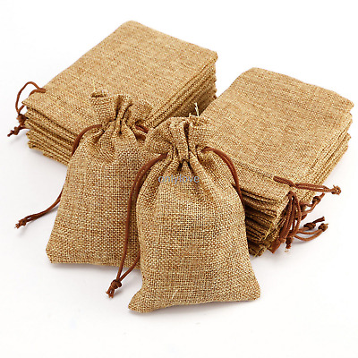 100 Light Coffee Wedding Favor Hessian Burlap Jute Gift Bags Drawstring Pouch