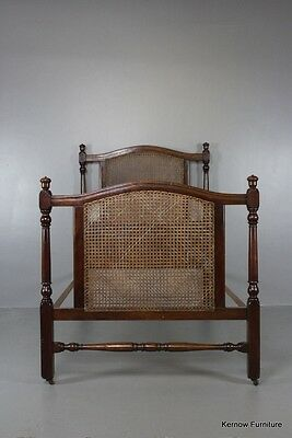 Single Antique Early 20th Century Mahogany Caned Bed
