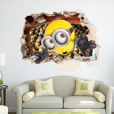 Despicable Me 3 - Minions - 3D Wall Sticker Decal Kids Room Decor Art NEW
