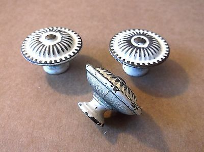 (3) Vintage Paint / Brass Finish Drawer Pulls / Knobs -- Screws Included