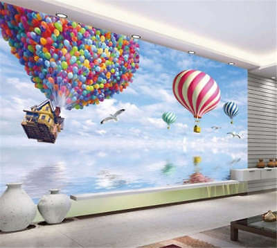 Flying Air Balloon 3D Full Wall Mural Photo Wallpaper Printing Home Kids Decor