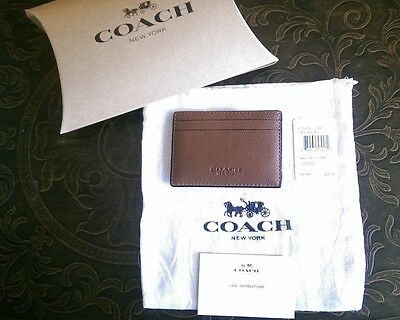 NWT Coach Men's Leather Slim Money Clip Card Case Holder Dark Saddle F75459
