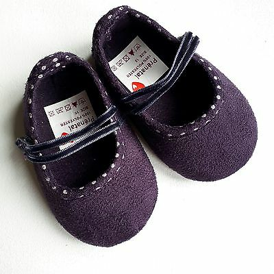 "PRENATAL BABY SHOES 3.5"" -  9cm PLUM FAUX SUEDE CHRISTENING BIRTH GIFT Size 15"