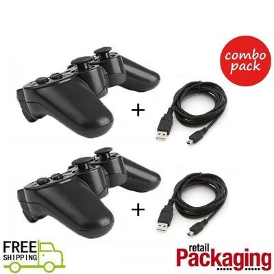 2 Pcs New Black Wireless Bluetooth Controllers For PS3 Free Shipping