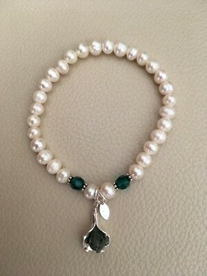May Birthstone Cultured Pearl Sterling Silver Bracelet Real Emerald  Lily Charm