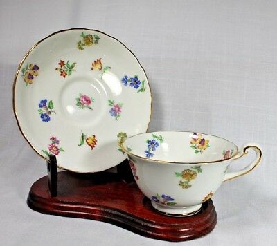 Royal Chelsea Bone China Cup & Saucer, White with Multi Floral Deisgn (1950's)