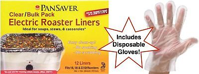Pansaver Electric Roaster Liners for Soup = EZ Cleanup! 12 Ct. Bulk Pack & 10...