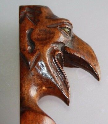 Antique 19th Century Treen Folk Art Devil Page Turner Glass Eyes 38 cms