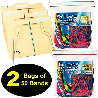 "Alliance Brites File Bands 07800, 7 x 1/8"" Rubber Bands, 2 Packs of 50"