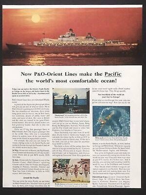 1961 Vintage Print Ad P&O ORIENT LINE Cruise Ship Boat Ocean Travel Sunset