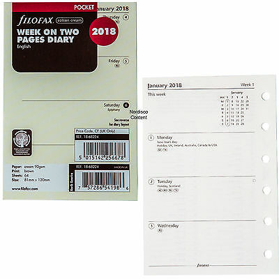 2018 FILOFAX Pocket Week on Two Pages Diary/Calendar - Cotton Cream 18-68224