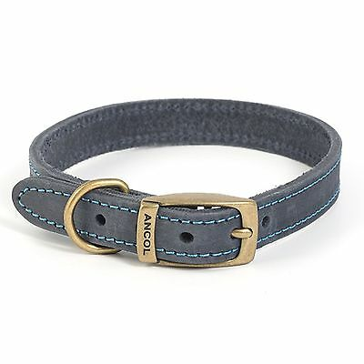 Ancol Timberwolf Leather Dog Puppy Collar Lead Sable Grey Blue Brown XS - Large