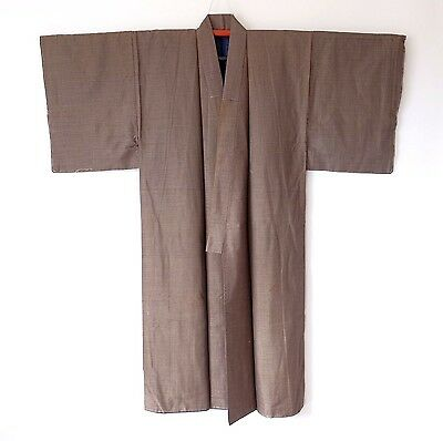 Japanese Men's Vintage Brown Kimono Silk Blend L1