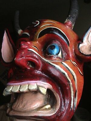 SCARY Hand-Carved DIABLO Red & Black Face Mask w/ REAL HORNS Folk Art Mexican?