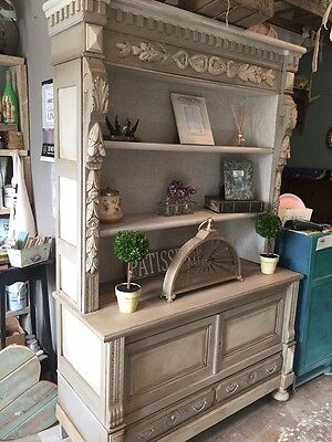 Large Hand painted French Bookcase - Dresser - Carved Detailing