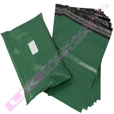"100 x SMALL 10x14"" OLIVE GREEN PLASTIC MAILING PACKAGING BAGS 60mu PEEL+ SEAL"