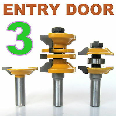 """3 pc 1/2"""" Shank Ogee Entry & Interior Door Matched R&S Router Bit Set S"""