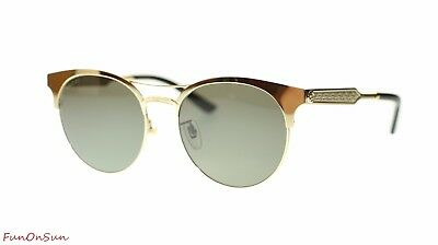 baf96536d79 Gucci Women Round Sunglasses GG0075S 003 Gold Green Lens 56mm Authentic