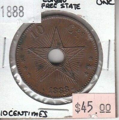 Congo Free State 10 Centimes 1888 UNC Uncirculated