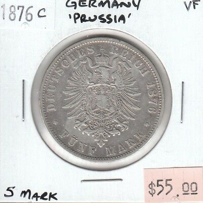 German States Prussia 5 Mark 1876 C Silver VF Very Fine