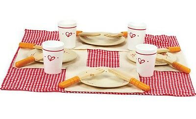 Brand New Hape Lunch Time Set Wooden Pretend Play Food Picnic set plates cups