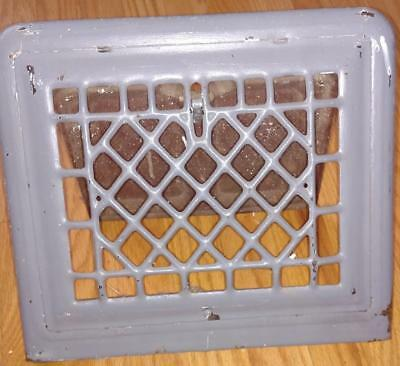 "Vintage Metal Wall Vent Cover/Register Painted Grey Heat Grate 13 1/4"" x 11 3/4"""