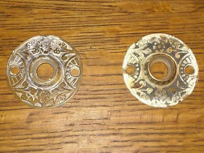 Pair Antique Victorian Rosettes Doorknob Plates Flower Ornate Salvaged Vintage