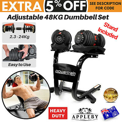 Adjustable Dumbbell Stand Set Home Gym Weight Exercise Fitness 48KG Equipment