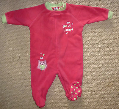 NWT Target Girls Pink Owl Embroidered Polar Fleece Coverall Romper Size 0