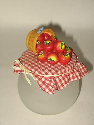 """Red Apple Barrel and Gingham Blue Butterfly Lid with Frosted Glass Jar/Bowl  4"""""""
