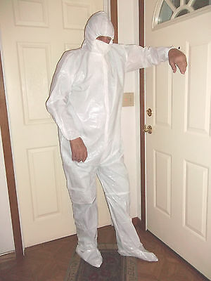 White Disposable Environmental Protective Suit with Hood & Zipper Size XL
