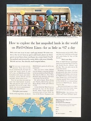 1962 Vintage Print Ad P&O Orient Line Cruise Ship Ocean Vacation Color Balloons