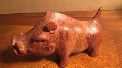"Wart Hog Hand Carved Hand Brown Wood from Kenya 4.5"" across x 3"" tall Rare Clean"