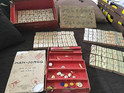 RARE VINTAGE MAHJONG SET from Birmingham UK circa 1920's, wood backs VGUC