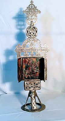ETHIOPIAN PROCESSIONAL CROSS W/ TRIPTYCH PAINTING INSIDE; In great condition!