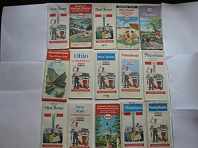 Vintage US Road Maps ESSO EXXON Lot of 15 various States and Canada
