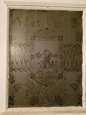 Early 1900s Antique Etched Glass (Hunter w/COONHOUNDS) Front Door~SOLID WOOD