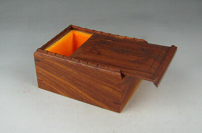 """new Chinese suanzhi wood rosewood flower design small rectangle jewelry box 4"""""""