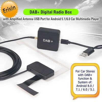 Erisin DAB+ Box Aerial Digital Antenna Radio Amplified Android 8.0 7.1 6.0 354FR