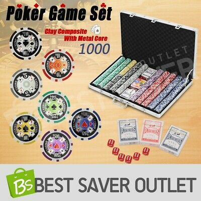 Poker Game Play Set Casino Size Chips Dice Gamble Aluminium Carry Case 1000 Chip