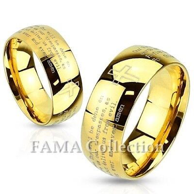 Top Quality FAMA Lords Prayer Gold IP Stainless Steel Dome Band Ring Size 5-13
