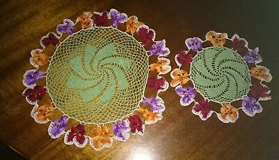 Beautiful Hand Crochet 2 Piece Doily Set with Pansies