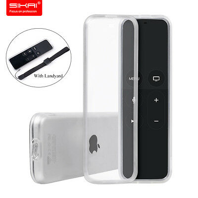 Sikai For apple tv4 tv 4 Clear Soft TPU Gel Shockproof Case Cover with lanyard
