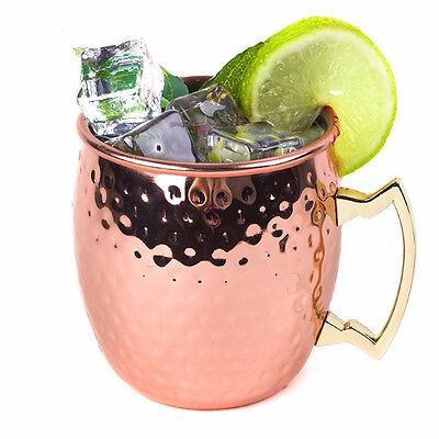 Pure Solid Copper Barrel Hammered Moscow Mule Copper Mugs18OZ 530ML fr Cocktails