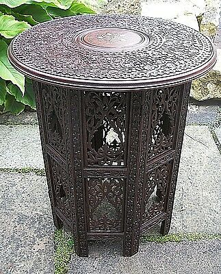 Superb  Antique Octagonal Inlaid Folding  Anglo/ Indian   Side Table