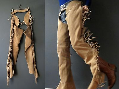 Cowhide Leather Suede Chaps Horse Riding Cowboy Med 3+ items for FREE Postage
