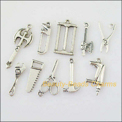 10 New Mixed Lots of Tibetan Silver Tone Tools Charms Pendants