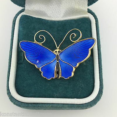 Vintage Royal blue guilloche enamel solid silver gold plated Butterfly brooch