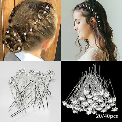 40X Bridal Wedding Crystal Diamante Flower Rose Jewelery Hair Pin Clip Accessory