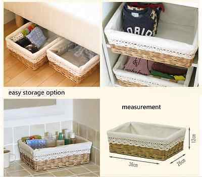 Brand New Natural Willow Weave Wicker Rectangular Storage Basket & Fabric Lining